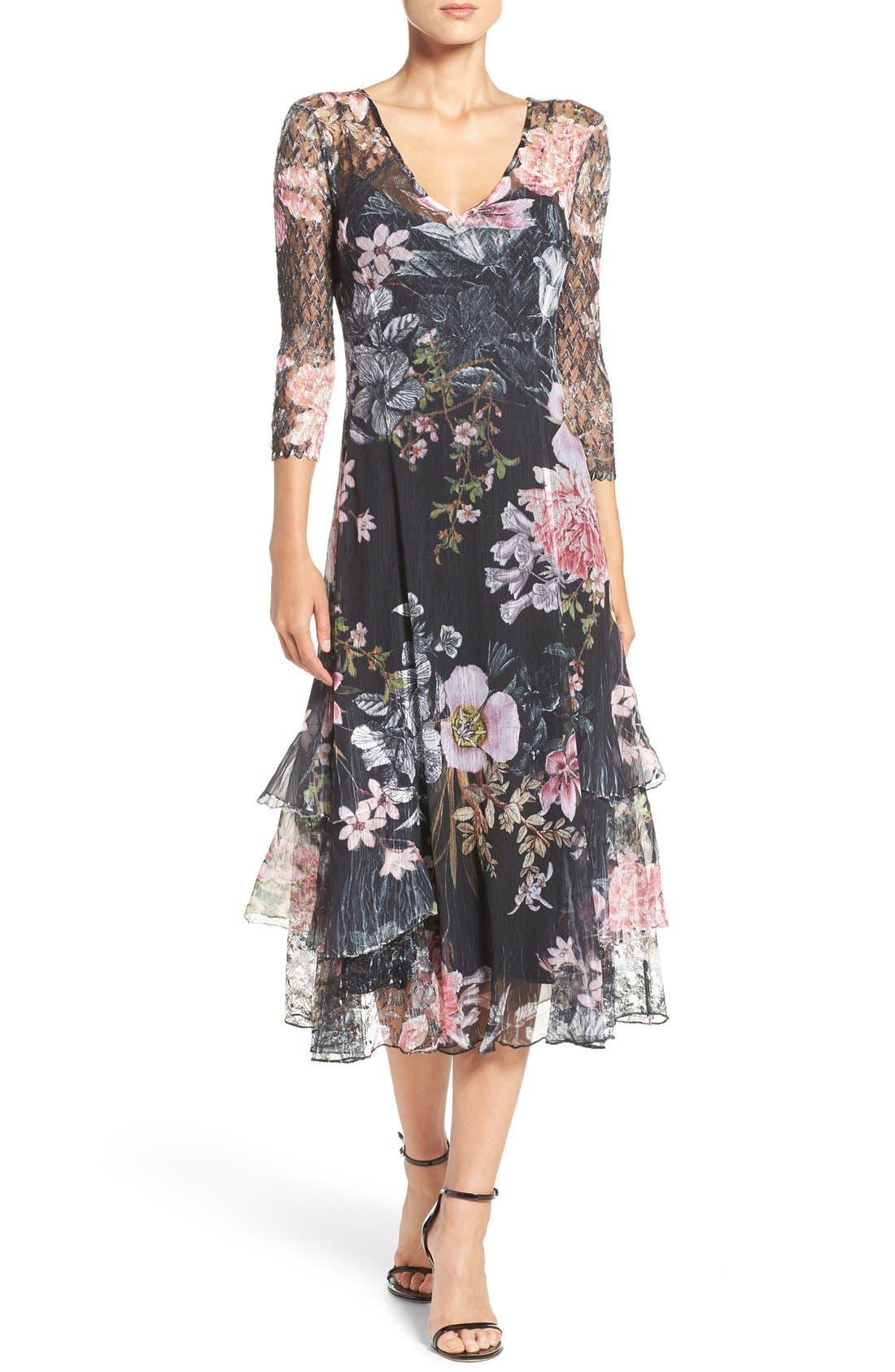 Komarov Chiffon & Lace A-Line Dress