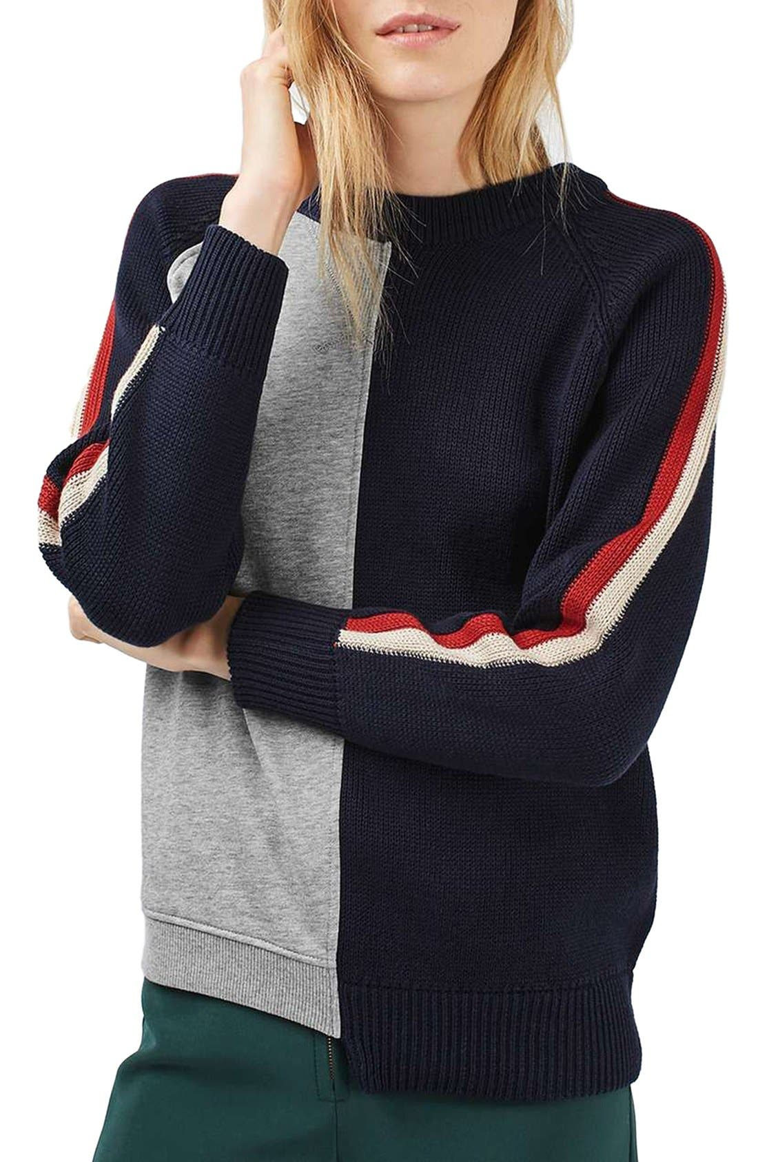 Alternate Image 1 Selected - Topshop Cutabout Colorblock Sweater