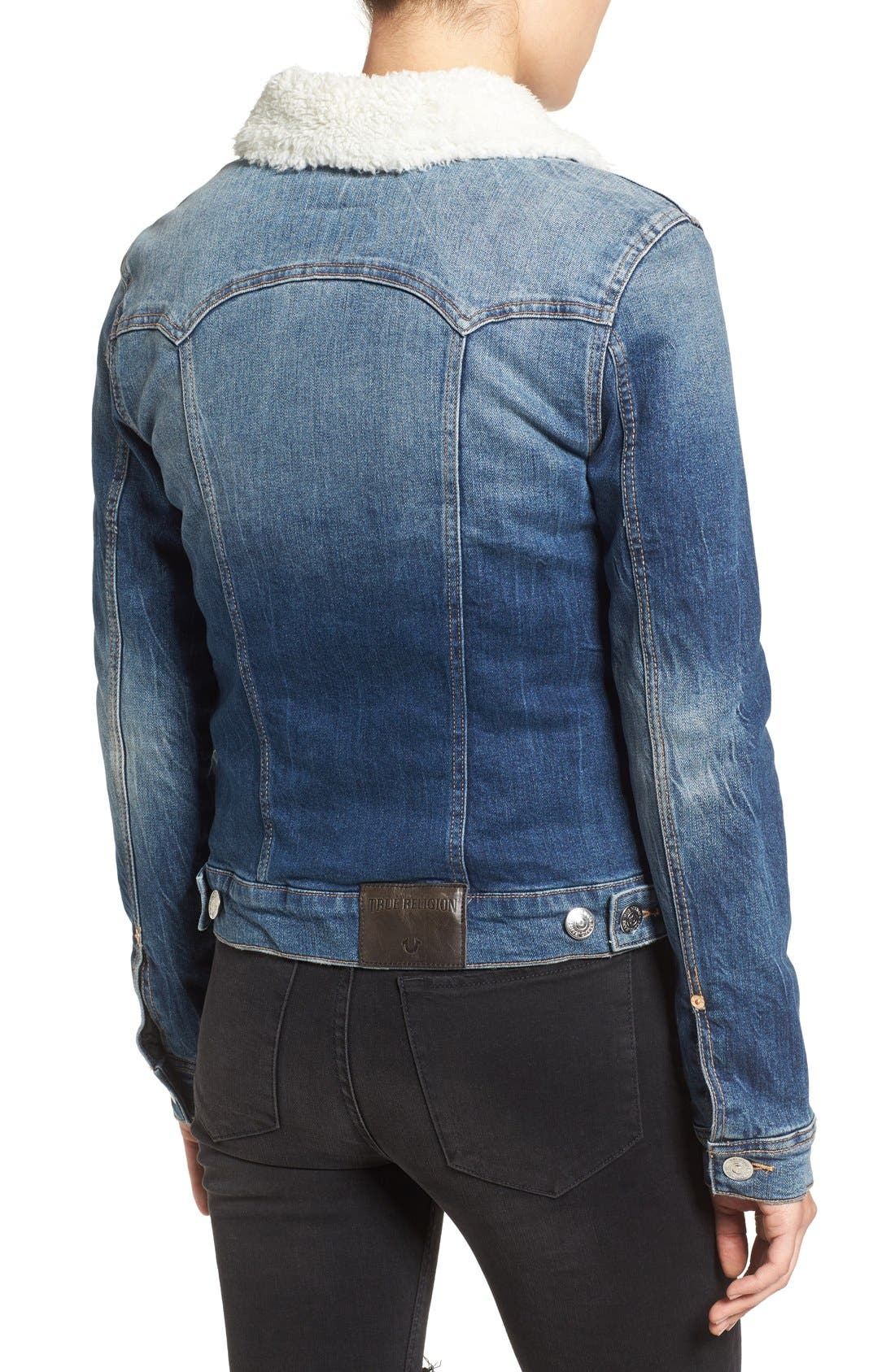 Alternate Image 2  - True Religion Brand Jeans Western Dusty Faux Shearling Collar Denim Jacket
