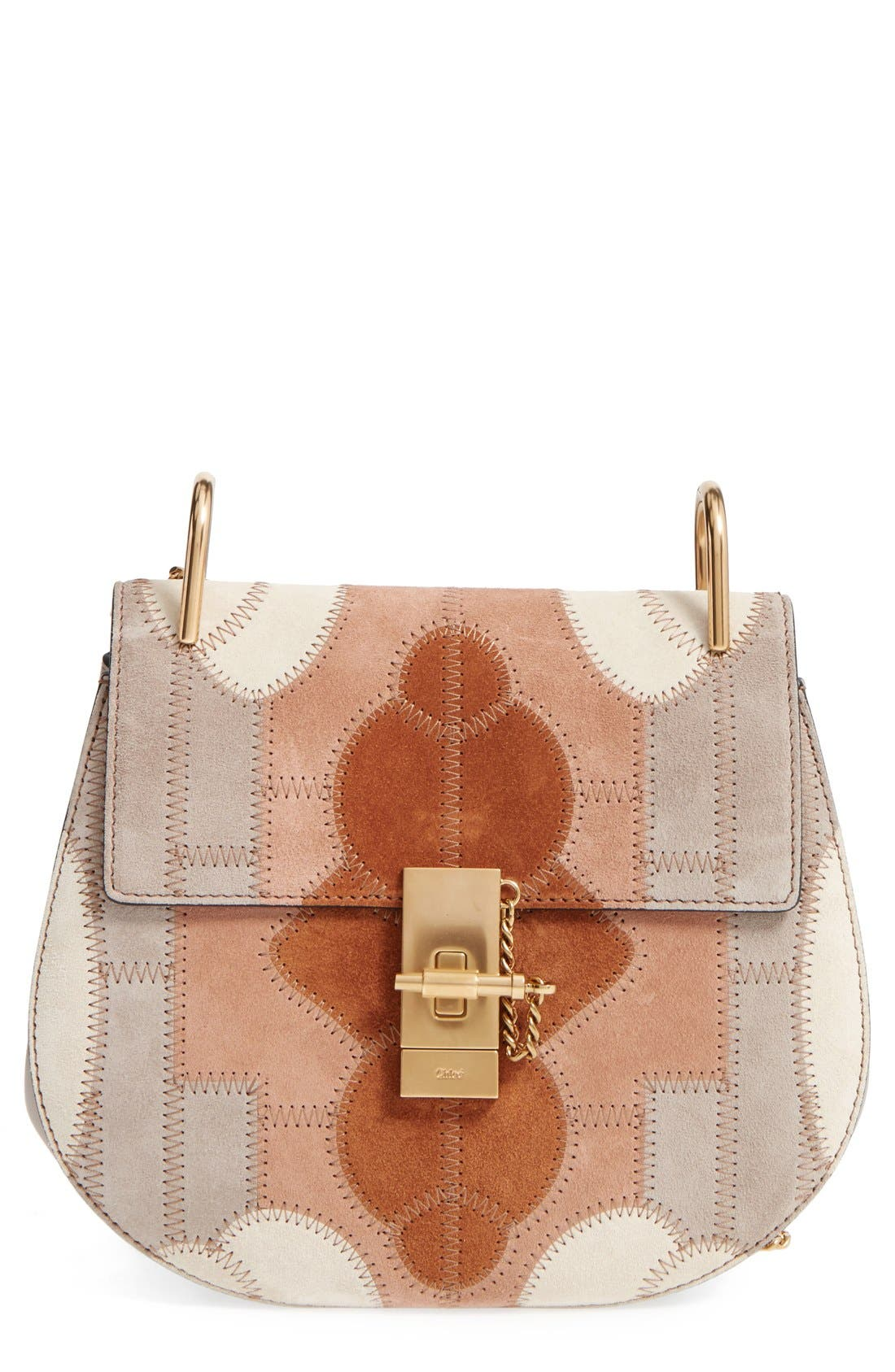 Main Image - Chloé 'Small Drew' Patchwork Suede Shoulder Bag