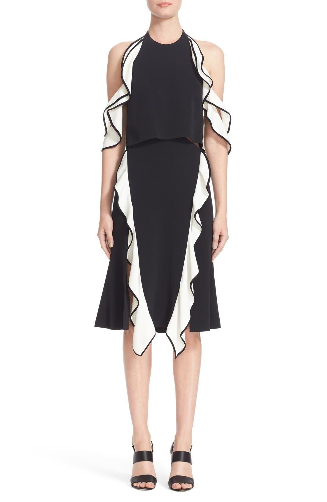 JONATHAN SIMKHAI Double Ruffle Cold Shoulder Crepe Dress