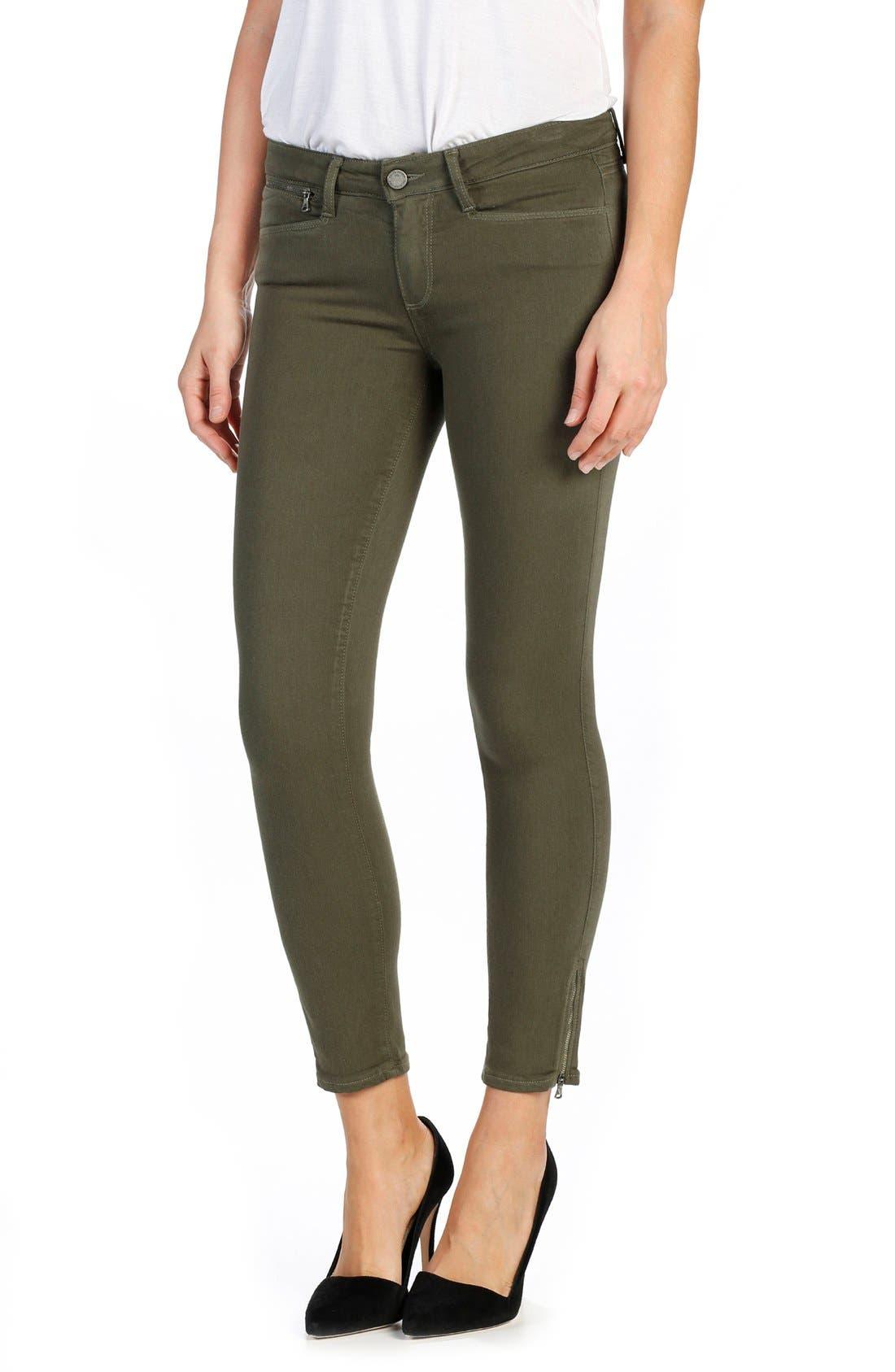 Alternate Image 1 Selected - PAIGE Transcend Shay Ankle Skinny Jeans (Olive Leaf)