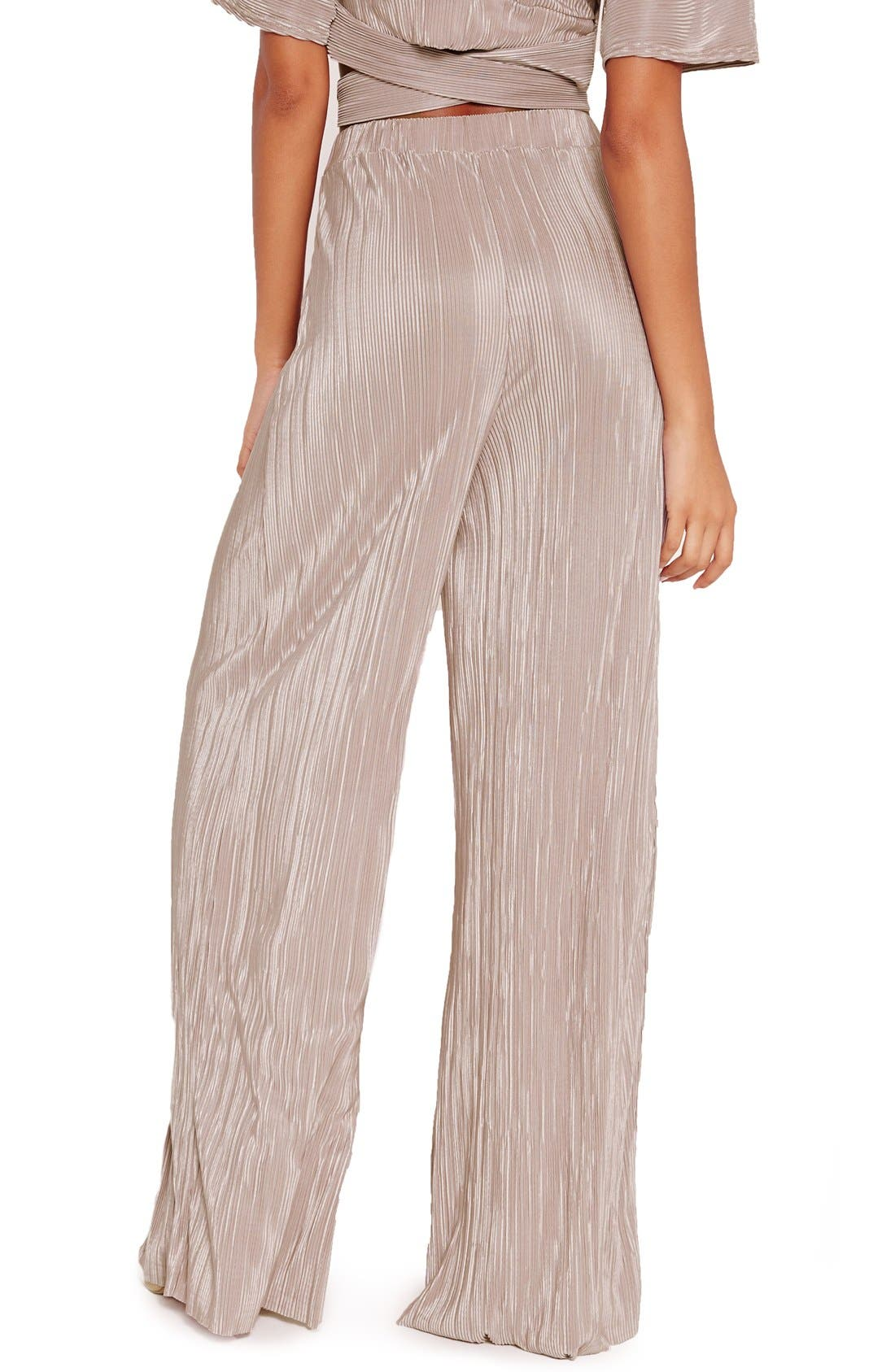 Alternate Image 3  - Missguided Wide Leg Pleat Trousers