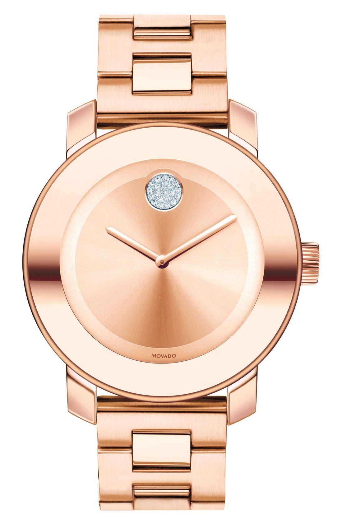 Main Image - Movado Bold Crystal Marker Bracelet Watch, 37mm