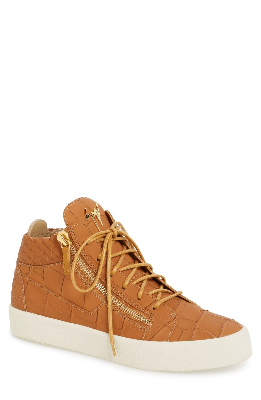 GIUSEPPE ZANOTTI Embossed Mid Top Sneaker
