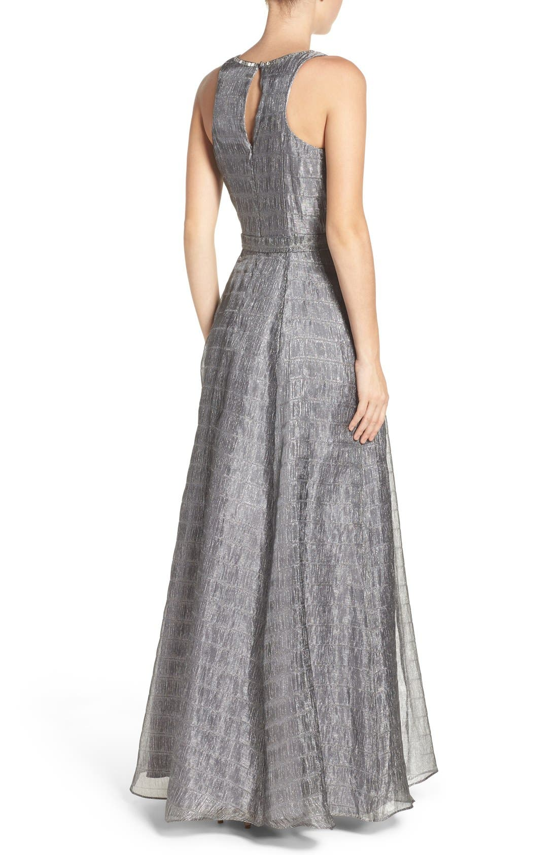 Alternate Image 2  - Aidan Mattox Beaded Metallic Organza Gown