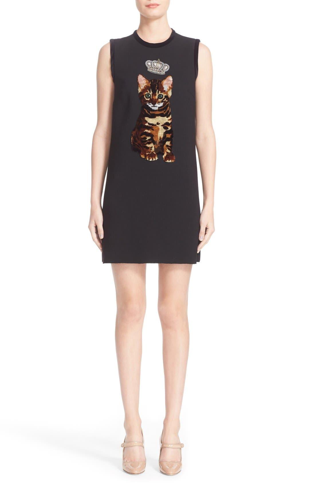 Alternate Image 1  - Dolce&Gabbana Cat Appliqué Wool Blend Crepe Dress