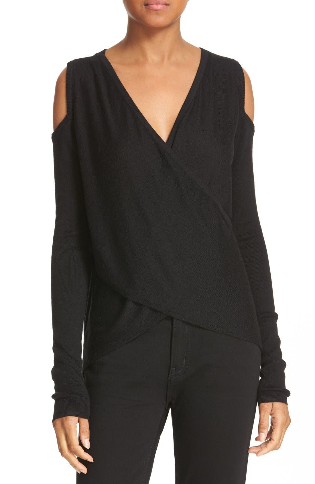 Alternate Image 1 Selected - 10 Crosby Derek Lam Knit Silk & Cashmere Cold Shoulder Sweater