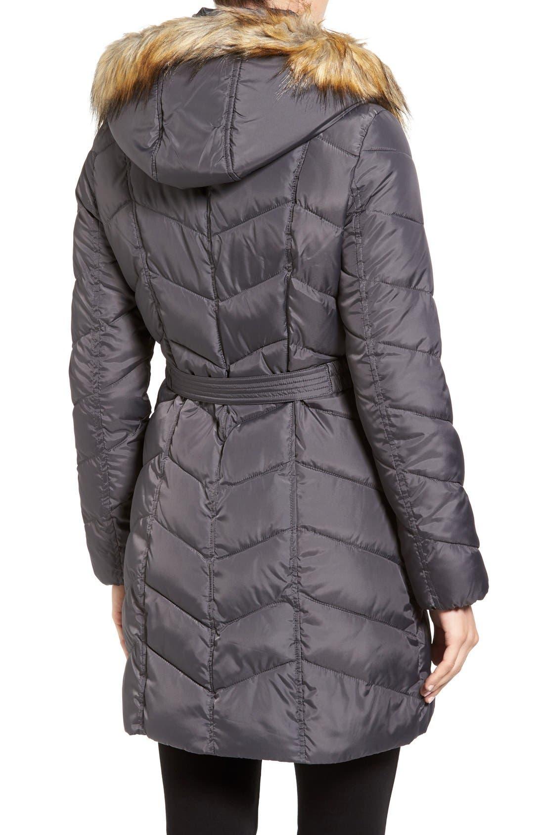 Alternate Image 2  - Rachel Roy Faux Fur Trim Quilted Coat with Bib