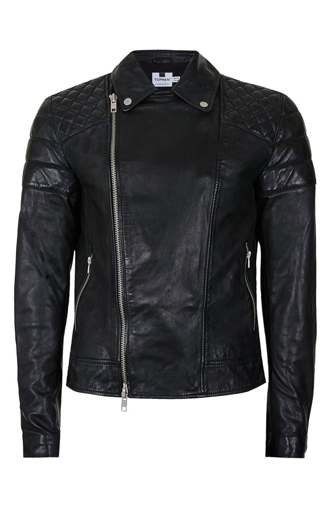 Alternate Image 5  - Topman Quilted Leather Biker Jacket