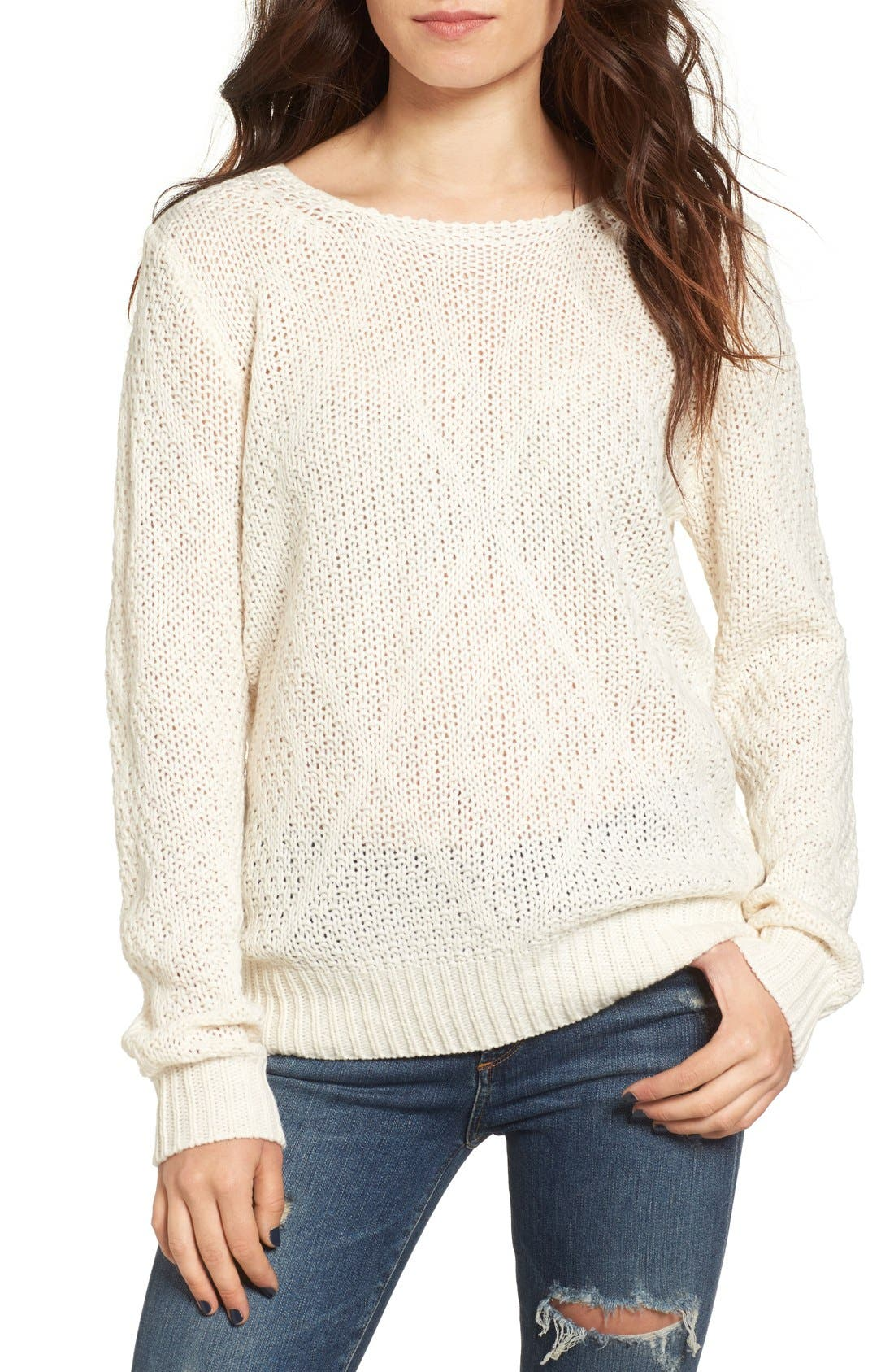 Alternate Image 1 Selected - Woven Heart Lace-Up Knit Pullover