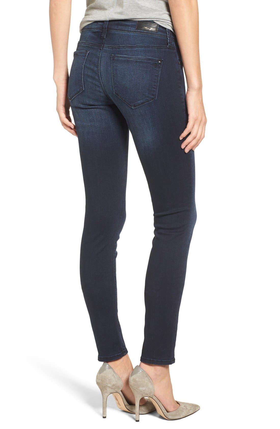 Alternate Image 2  - Mavi Jeans Gold Alexa Stretch Skinny Jeans (Deep Feather) (Regular & Petite)