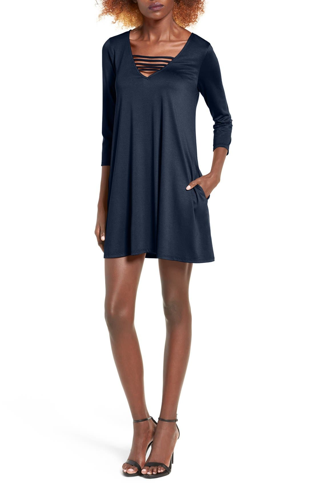 Main Image - Socialite Serena Three Quarter Sleeve Dress