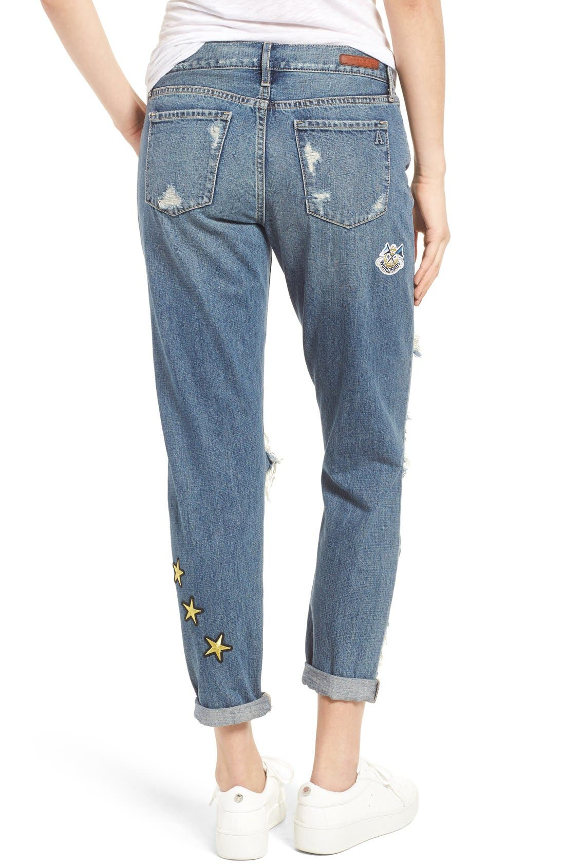 Alternate Image 3  - Articles of Society Janis Destroyed Boyfriend Jeans with Patches