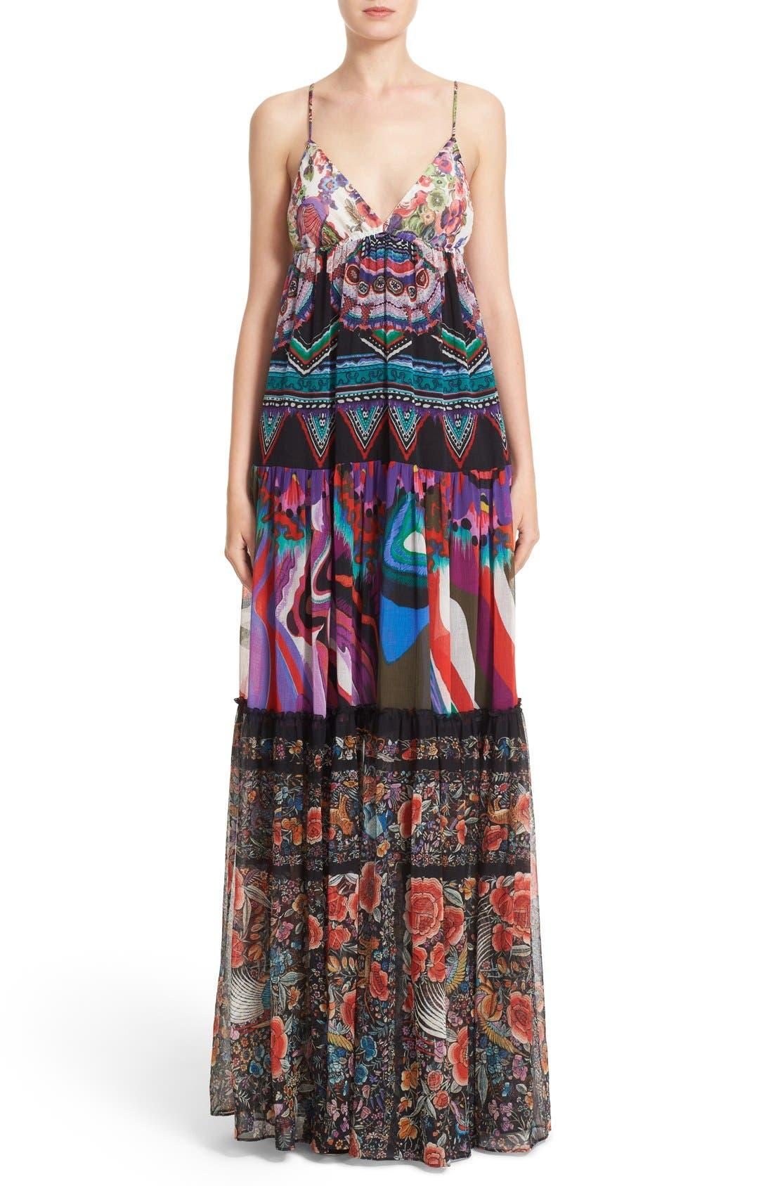 Alternate Image 1 Selected - Roberto Cavalli Print Silk Maxi Dress