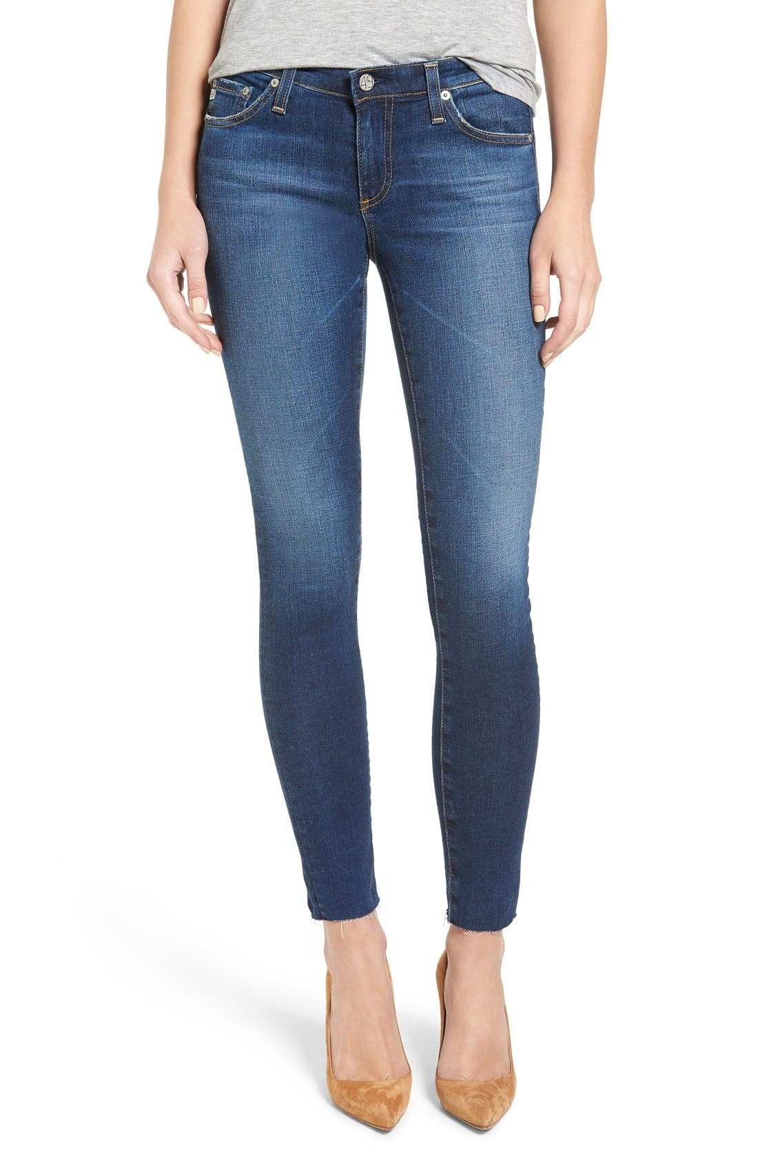 Alternate Image 1 Selected - AG 'The Legging' Ankle Jeans (7 Year Break with Raw Hem)