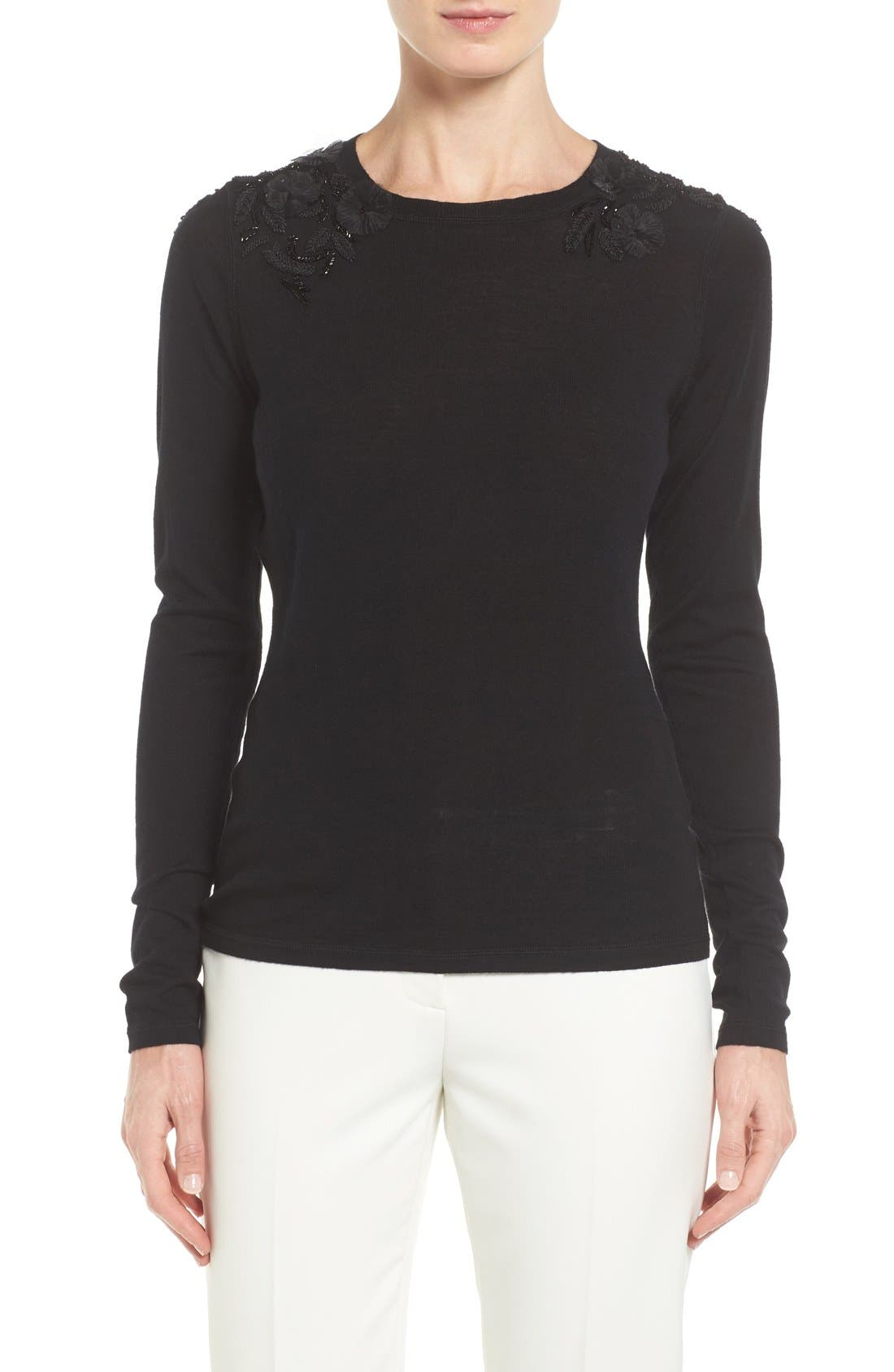 Elie Tahari Grace Embellished Merino Wool Sweater