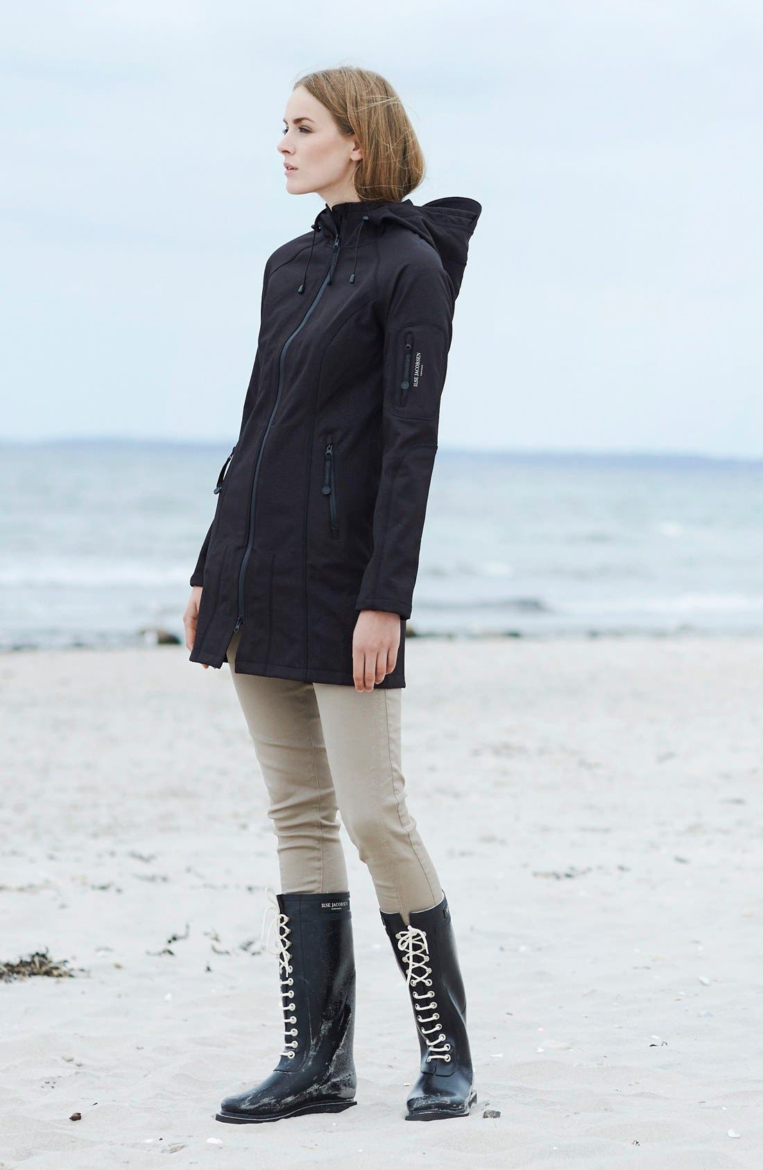 Alternate Image 2  - Ilse Jacobsen Rain 7 Hooded Water Resistant Coat