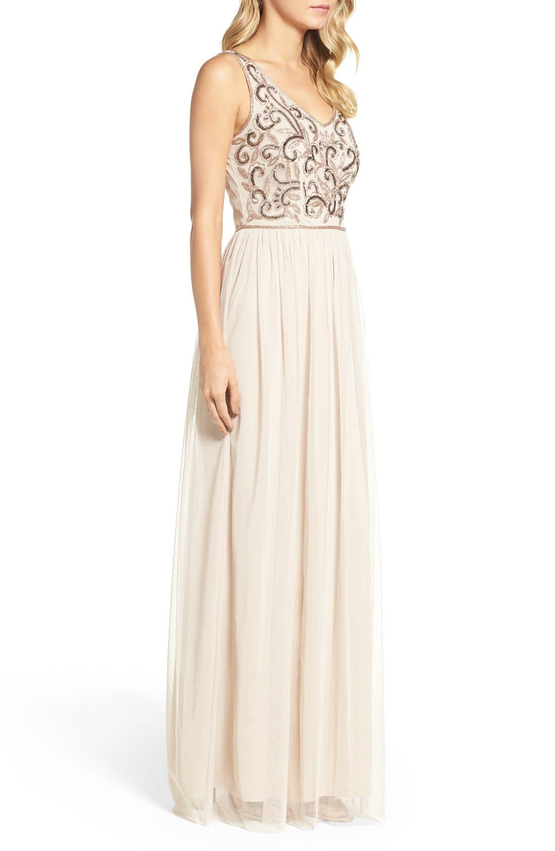 Alternate Image 3  - Adrianna Papell V-Neck Embroidered Bodice Gown