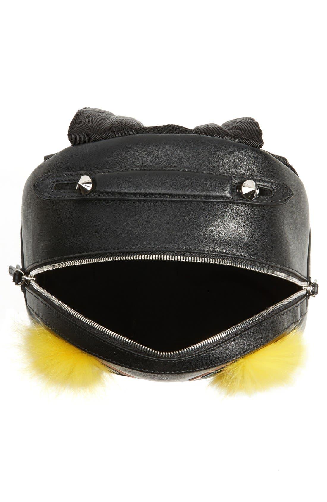 Alternate Image 4  - Fendi 'Monster' Leather Backpack with Genuine Fox Fur & Snakeskin Trim
