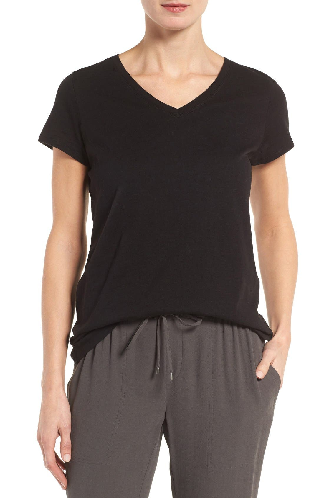 Eileen Fisher Organic Cotton V-Neck Tee (Regular & Petite) (Nordstrom Exclusive)