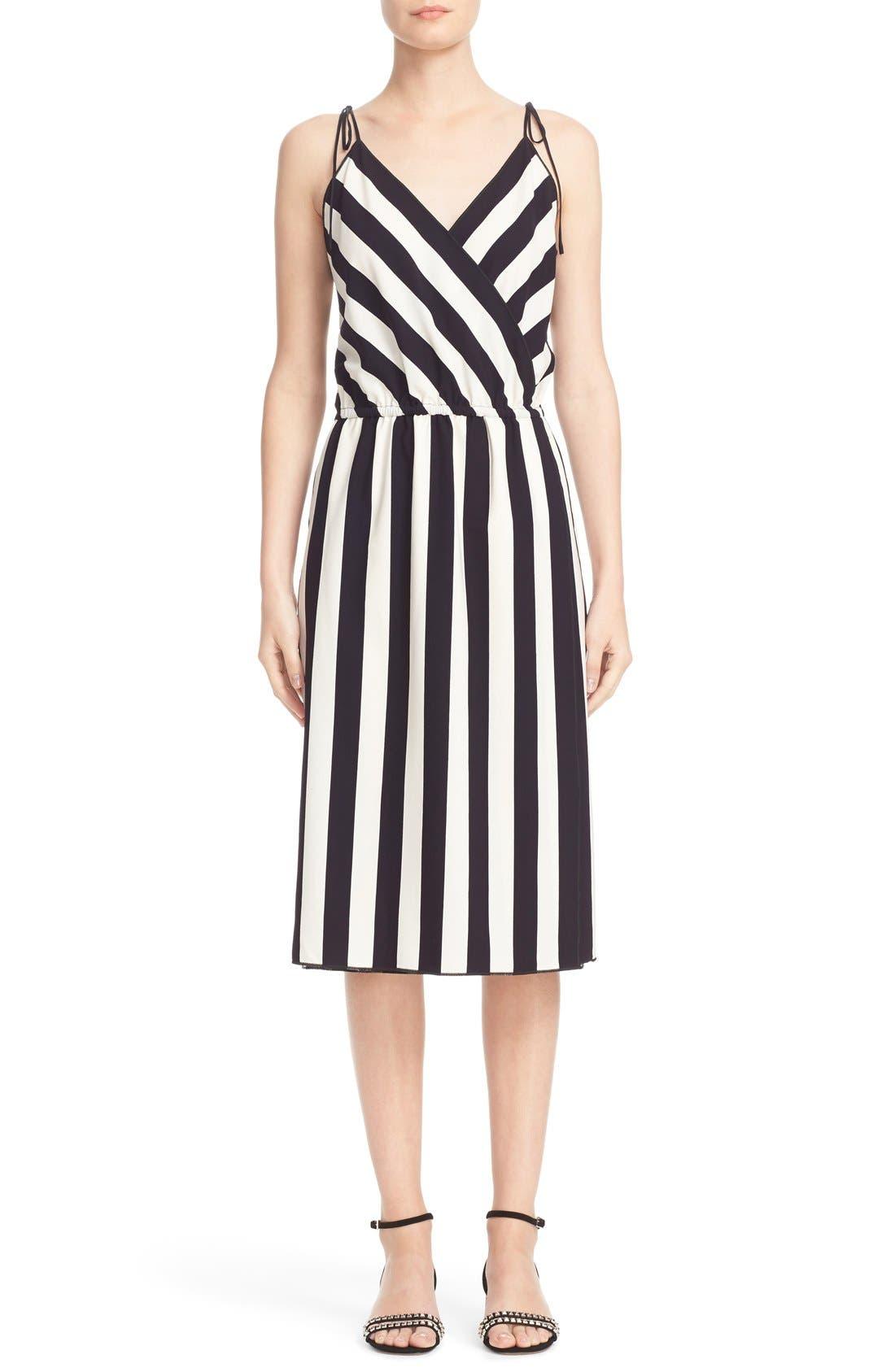 MARC JACOBS Stripe Crepe Surplice Dress