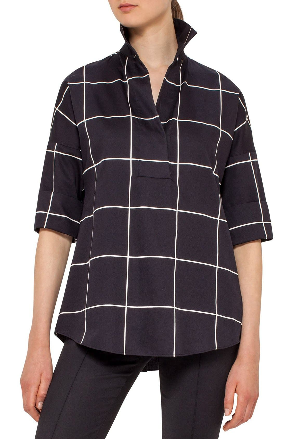 AKRIS PUNTO Windowpane Print Cotton Swing Top