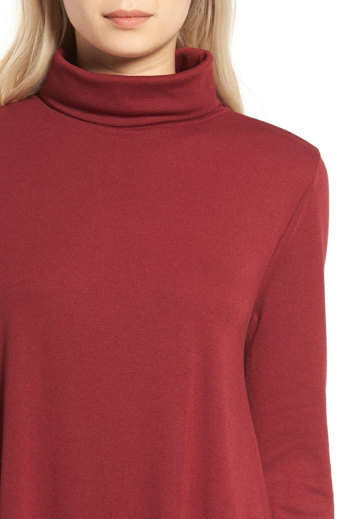 Alternate Image 4  - Cotton Emporium Turtleneck Swing Dress