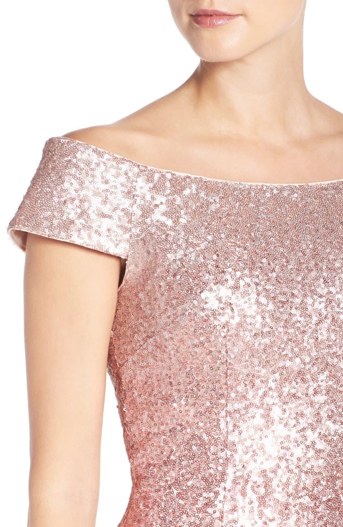 Alternate Image 5  - Vince Camuto Sequin Off the Shoulder Sheath Dress (Regular & Petite)