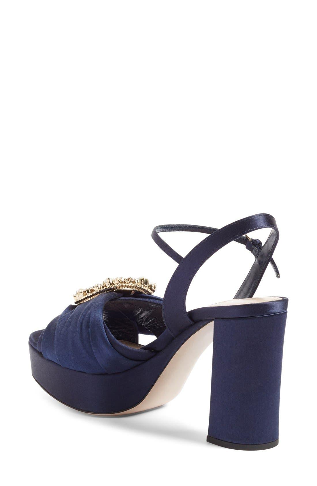 Alternate Image 2  - Miu Miu Embellished Buckle Platform Sandal (Women)