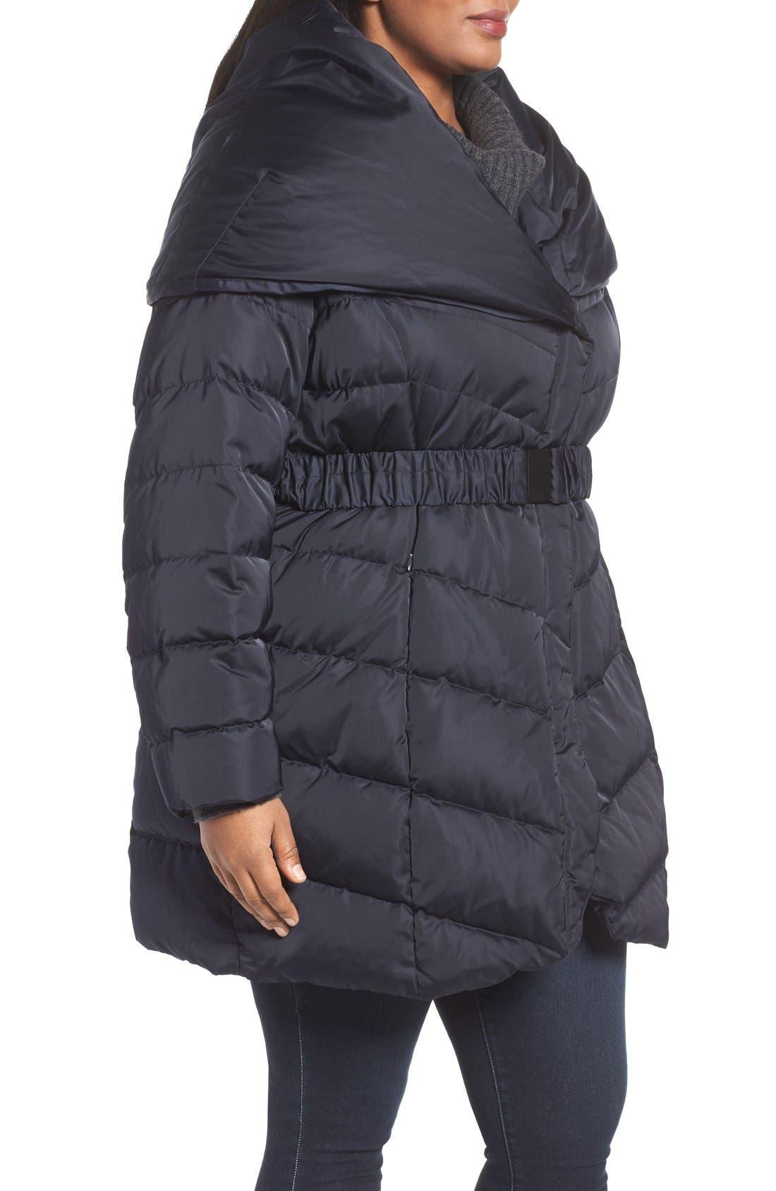 Alternate Image 3  - Tahari Matilda Shawl Collar Quilted Coat (Plus Size)