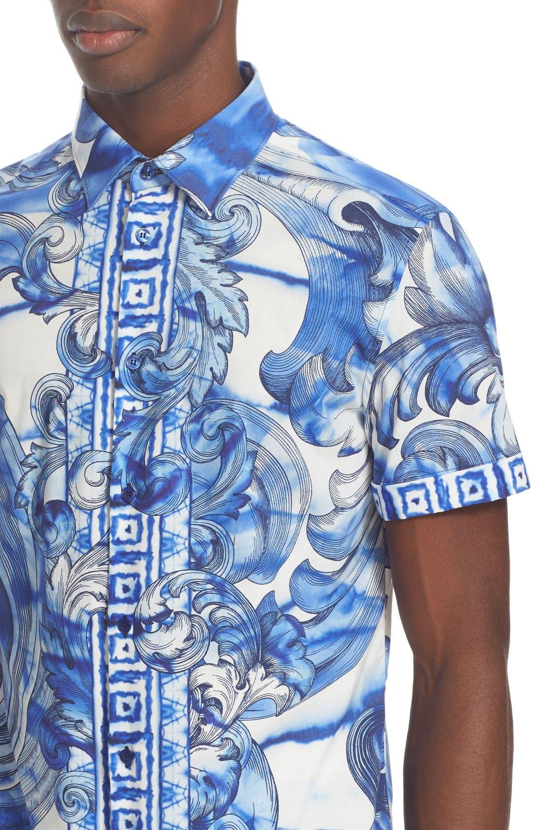 Alternate Image 5  - Versace Collection Trim Fit Tie Dye Short Sleeve Sport Shirt