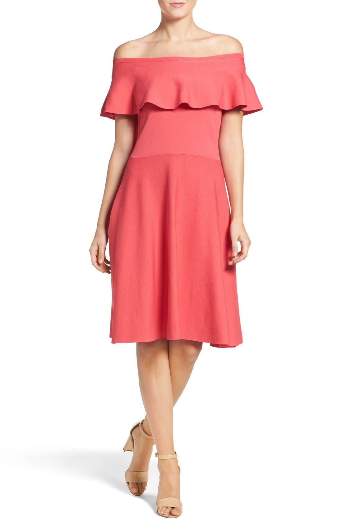 Alternate Image 1 Selected - Eliza J Off the Shoulder Dress (Regular & Petite)