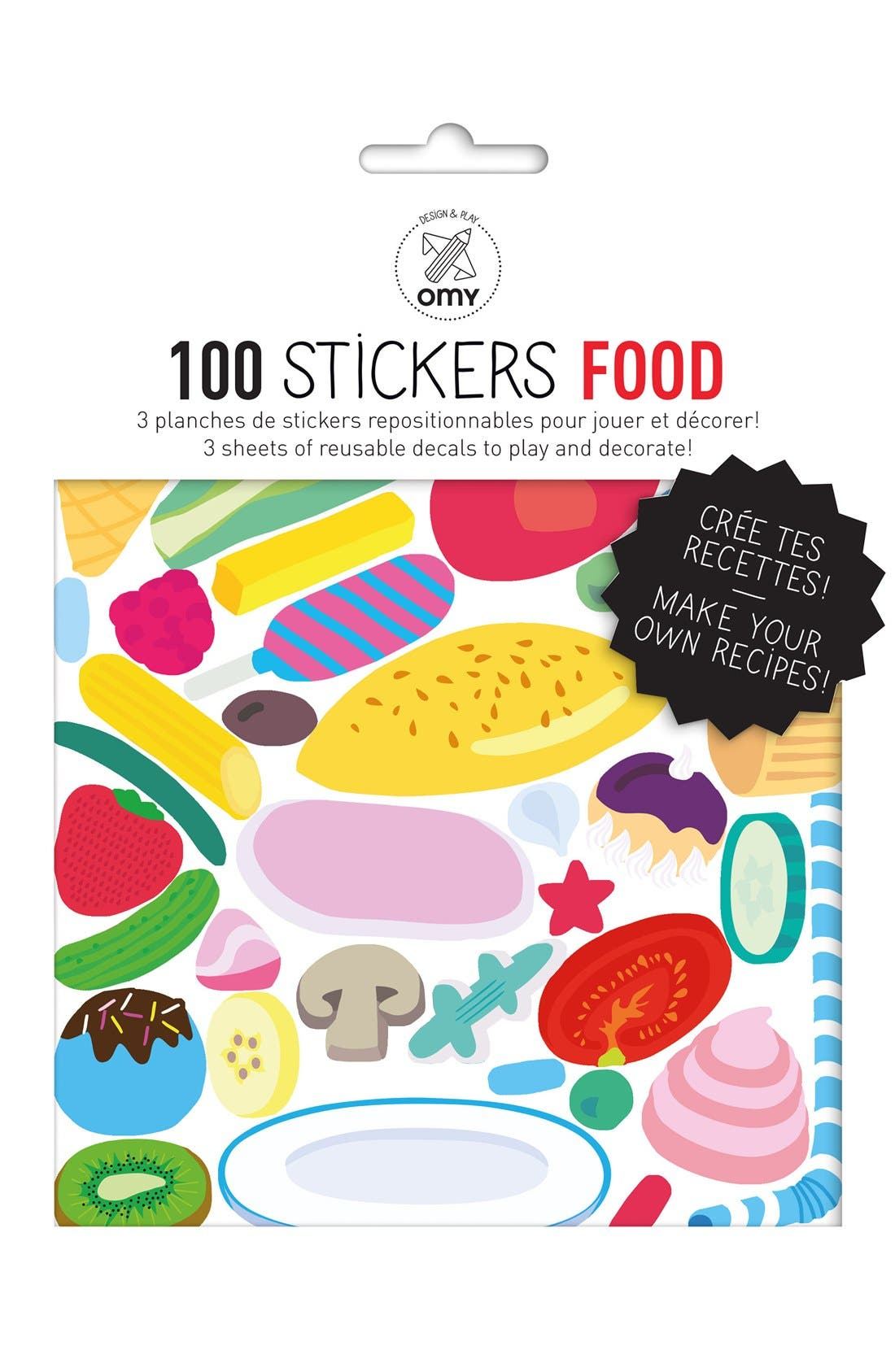 OMY Set of 100 Reusable Food Stickers