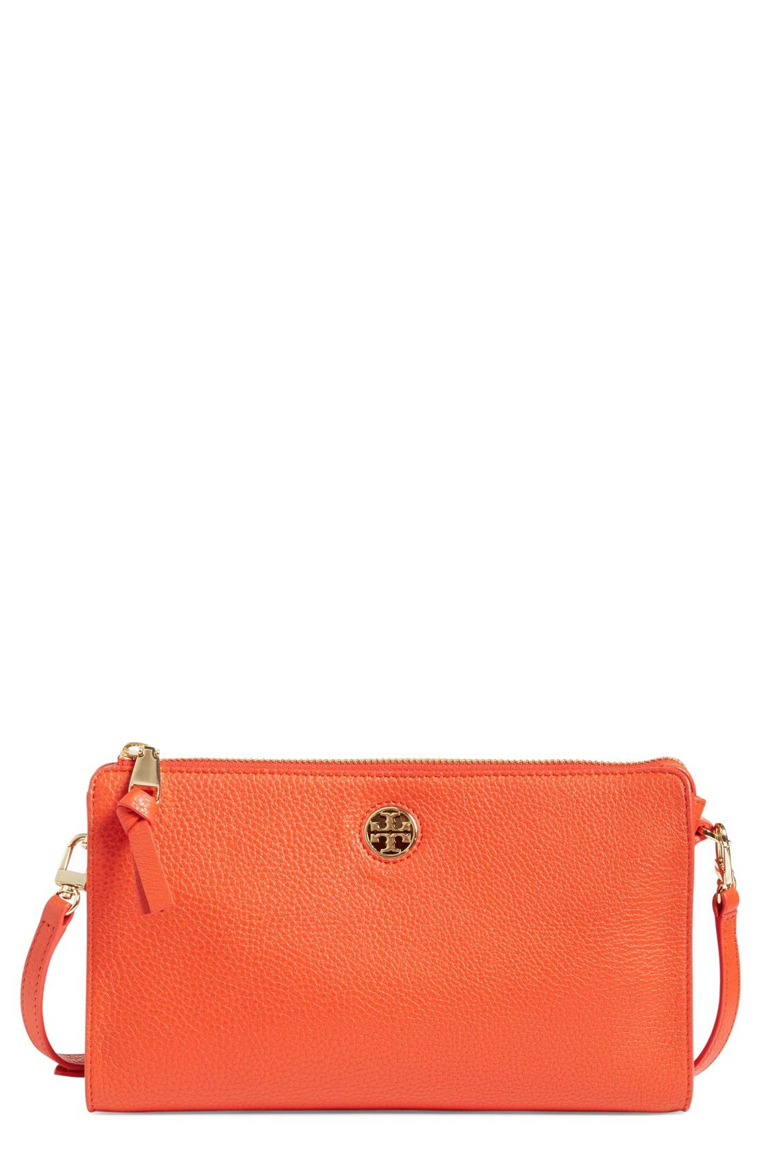 Alternate Image 1 Selected - Tory Burch 'Robinson' Pebbled Leather Crossbody Wallet