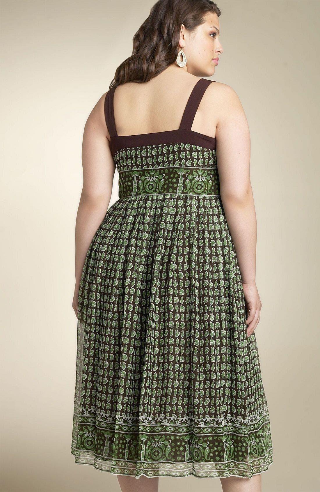 Alternate Image 2  - Robbie Bee Border Silk Chiffon Dress (Plus)