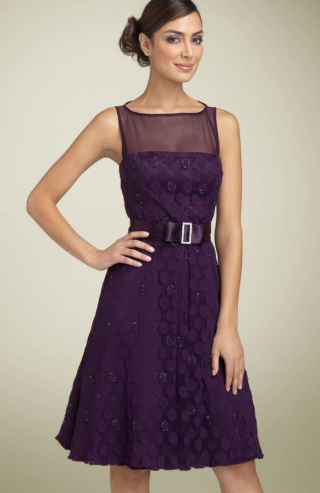 Main Image - JS Boutique Mesh Dot Party Dress with Sash