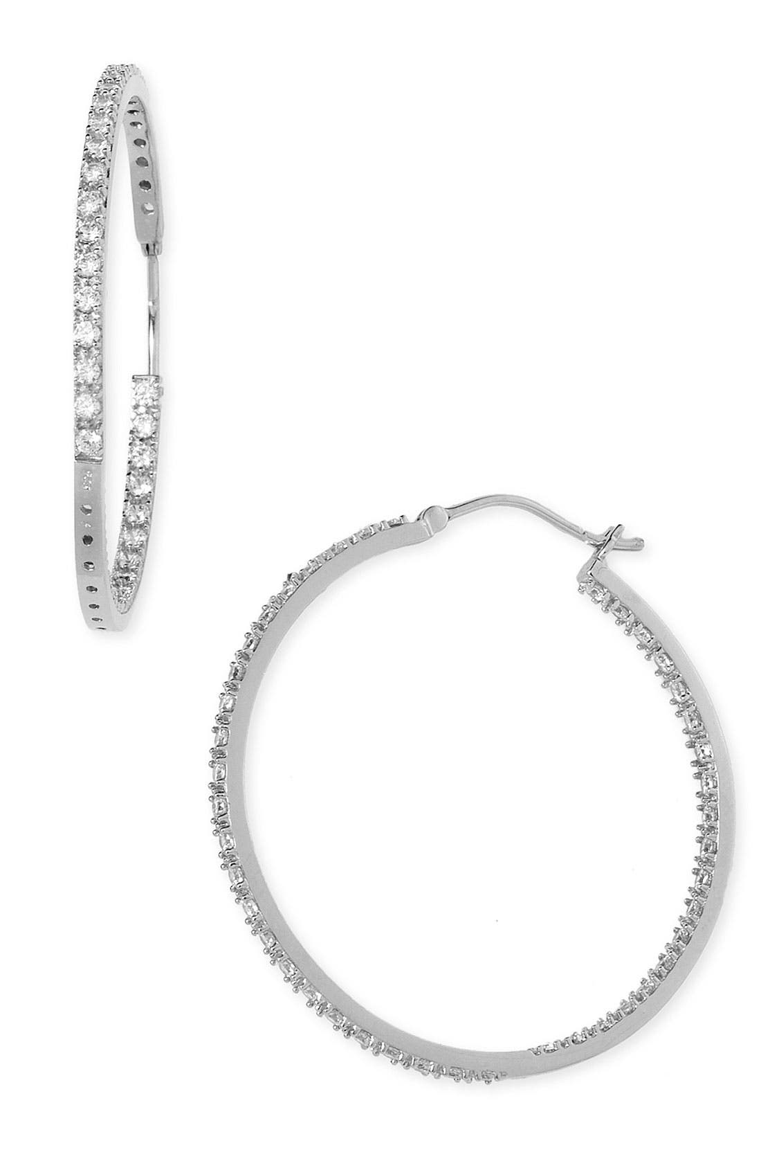 Alternate Image 1 Selected - Nordstrom 'Inside Out' Cubic Zirconia Hoop Earrings