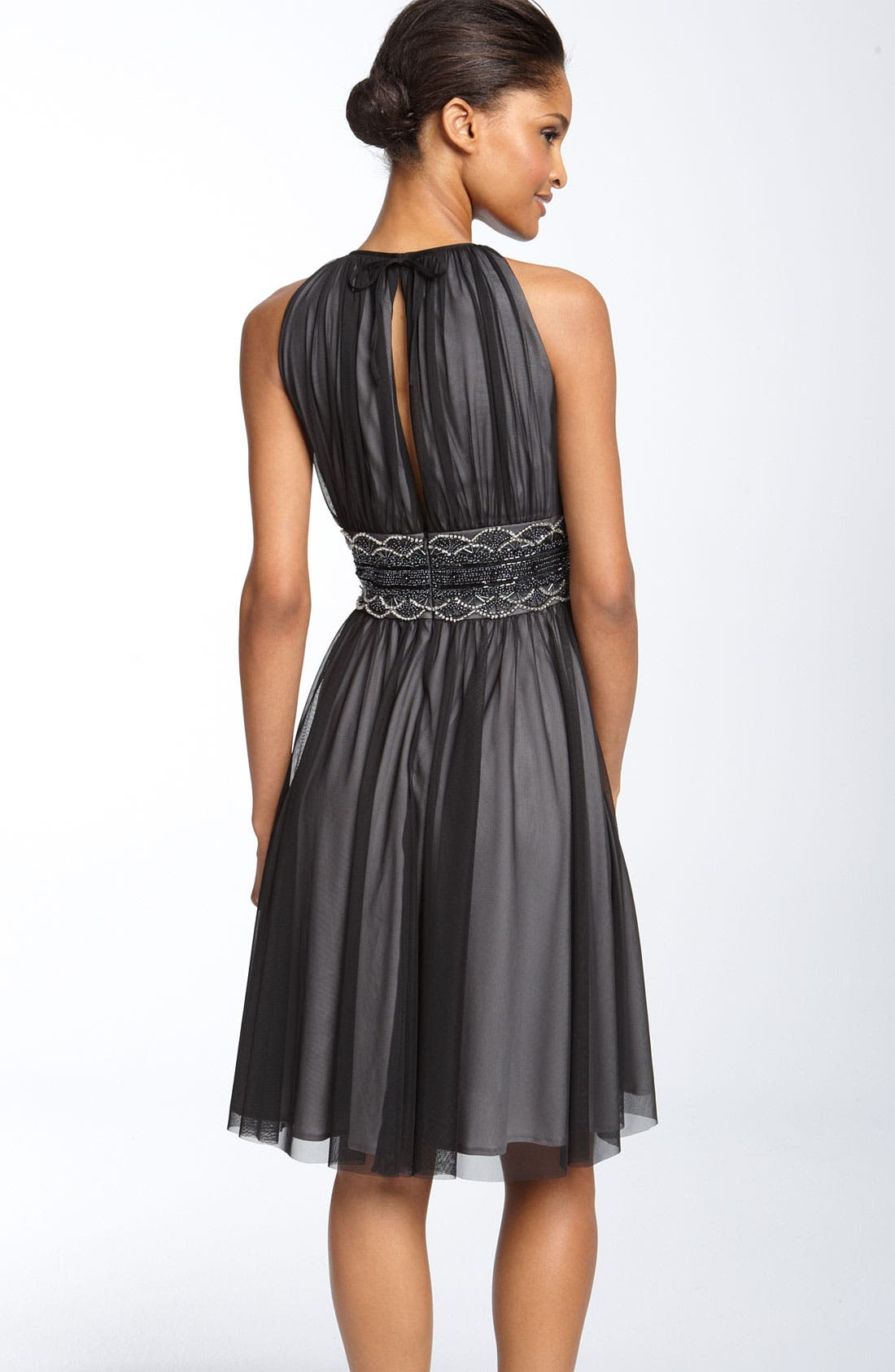 Alternate Image 2  - JS Boutique Cutaway Shoulder Beaded Mesh Dress