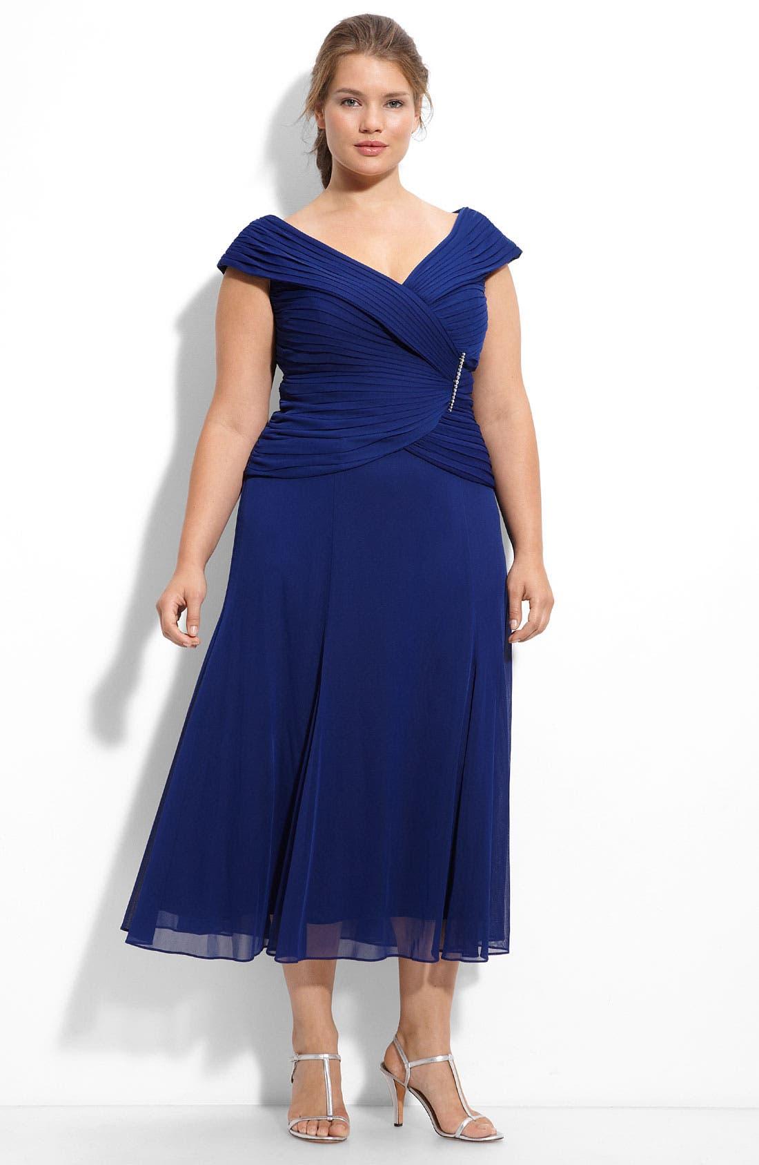 Alternate Image 1 Selected - Alex Evenings Jeweled Portrait Collar Mesh Dress (Plus)