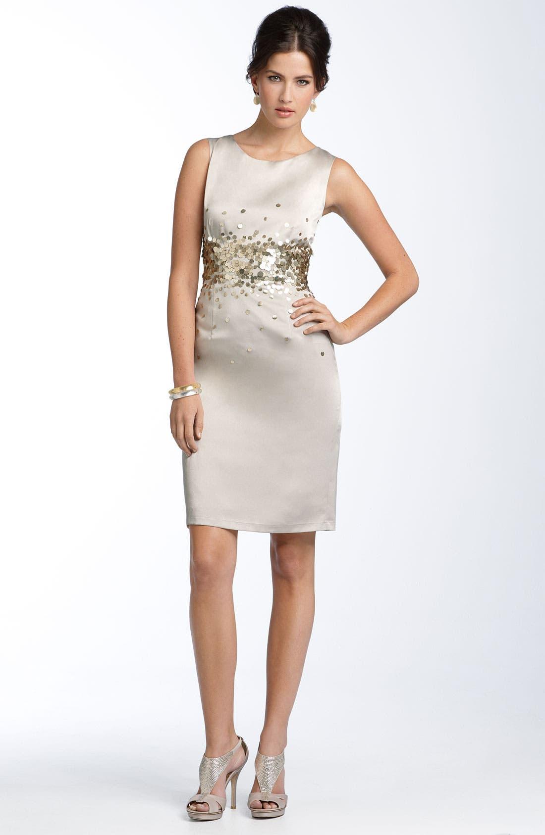 Alternate Image 3  - Calvin Klein Paillette Stretch Satin Sheath Dress