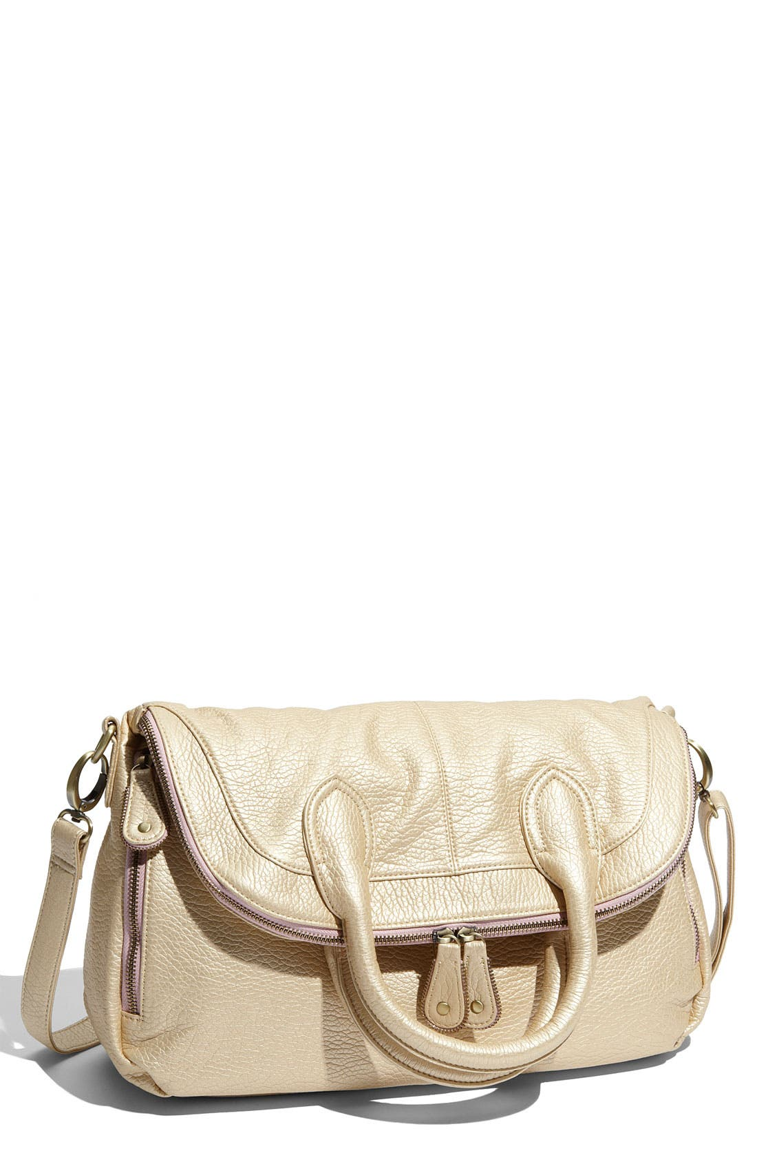 Main Image - Tulu Foldover Faux Leather Crossbody Bag
