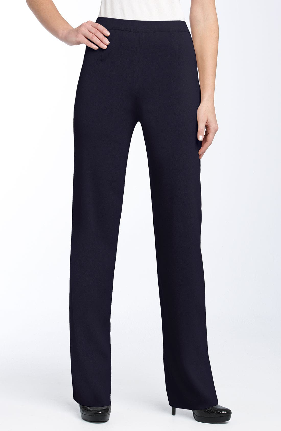 Alternate Image 1 Selected - Exclusively Misook Slim Knit Pants (Regular & Petite)