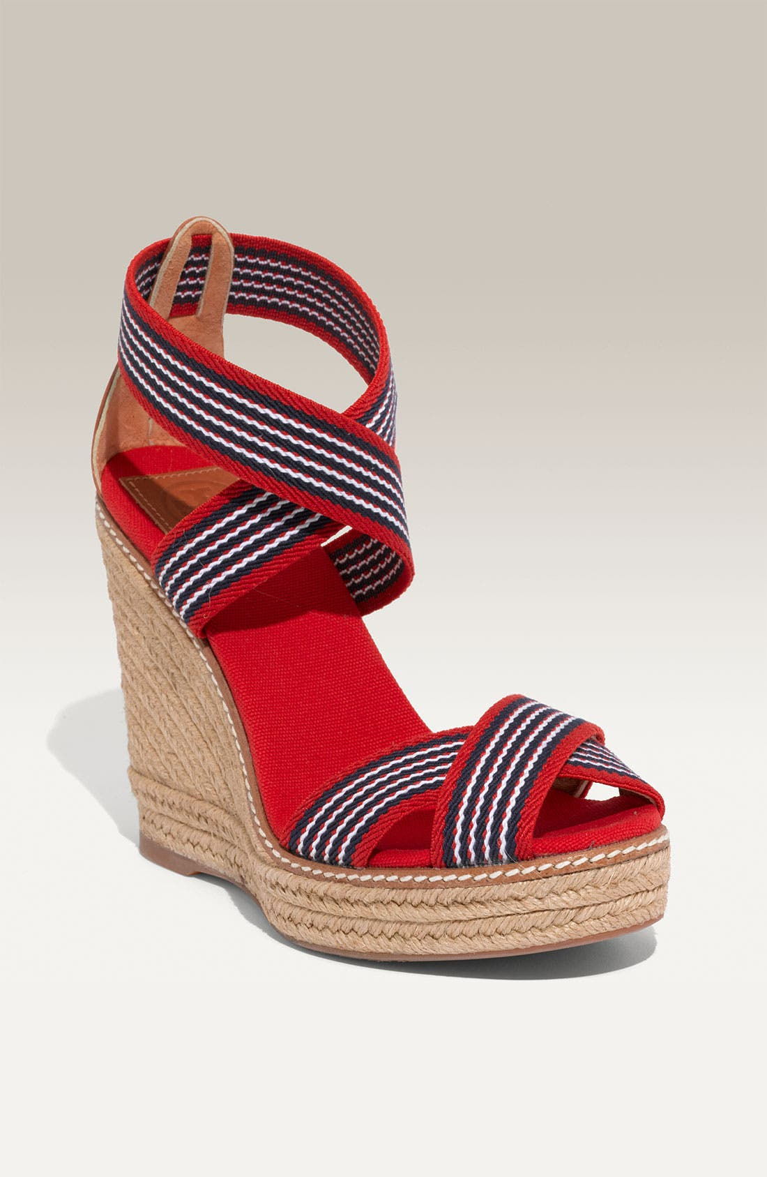 Alternate Image 1 Selected - Tory Burch Stripe Elastic Strap Espadrille