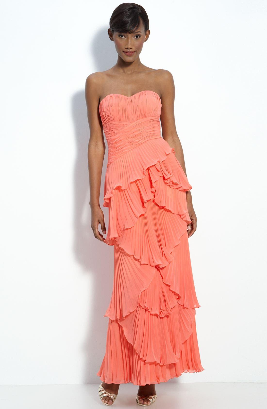Alternate Image 1 Selected - Dalia MacPhee Tiered Pleat Chiffon Gown