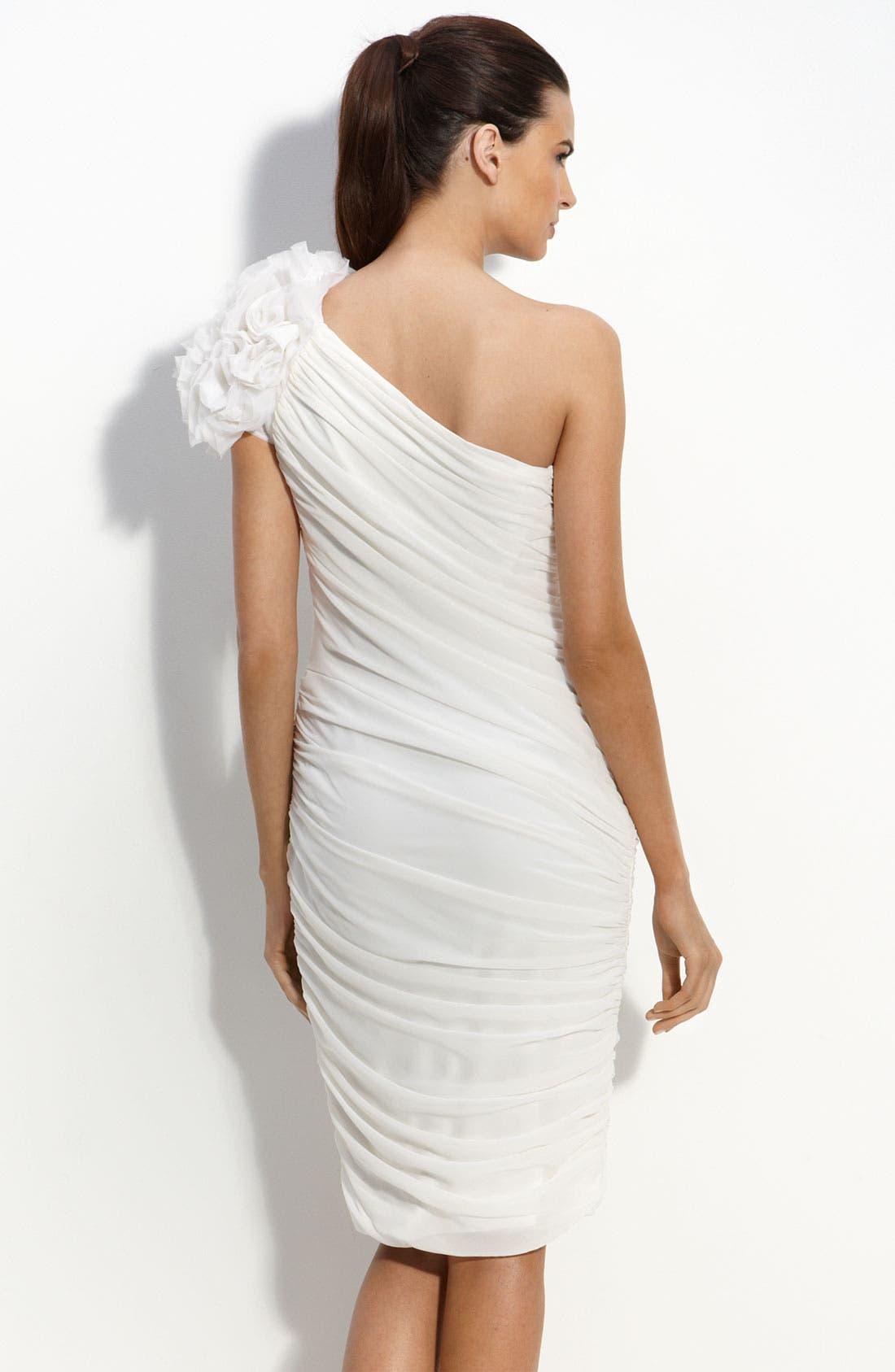 Alternate Image 2  - Tadashi Shoji One Shoulder Chiffon Sheath Dress with Rosettes