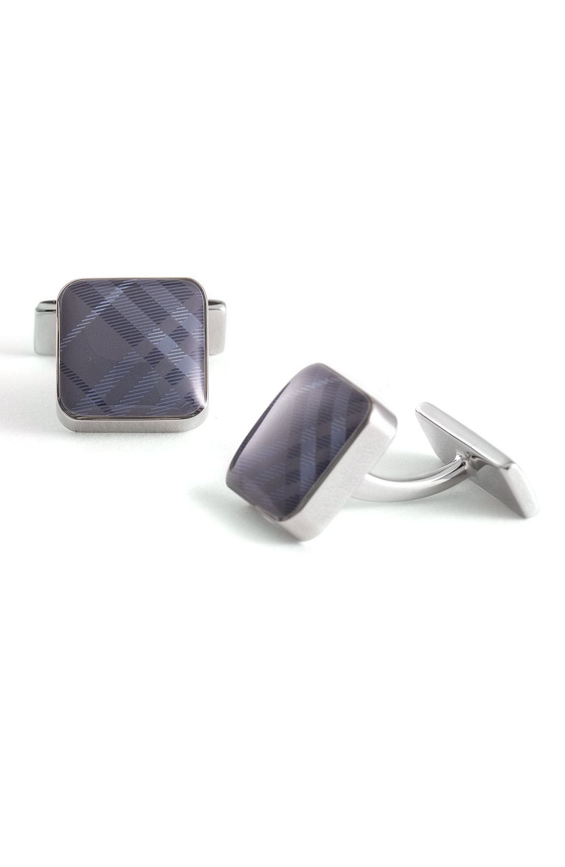 Main Image - Burberry Check Square Cuff Links