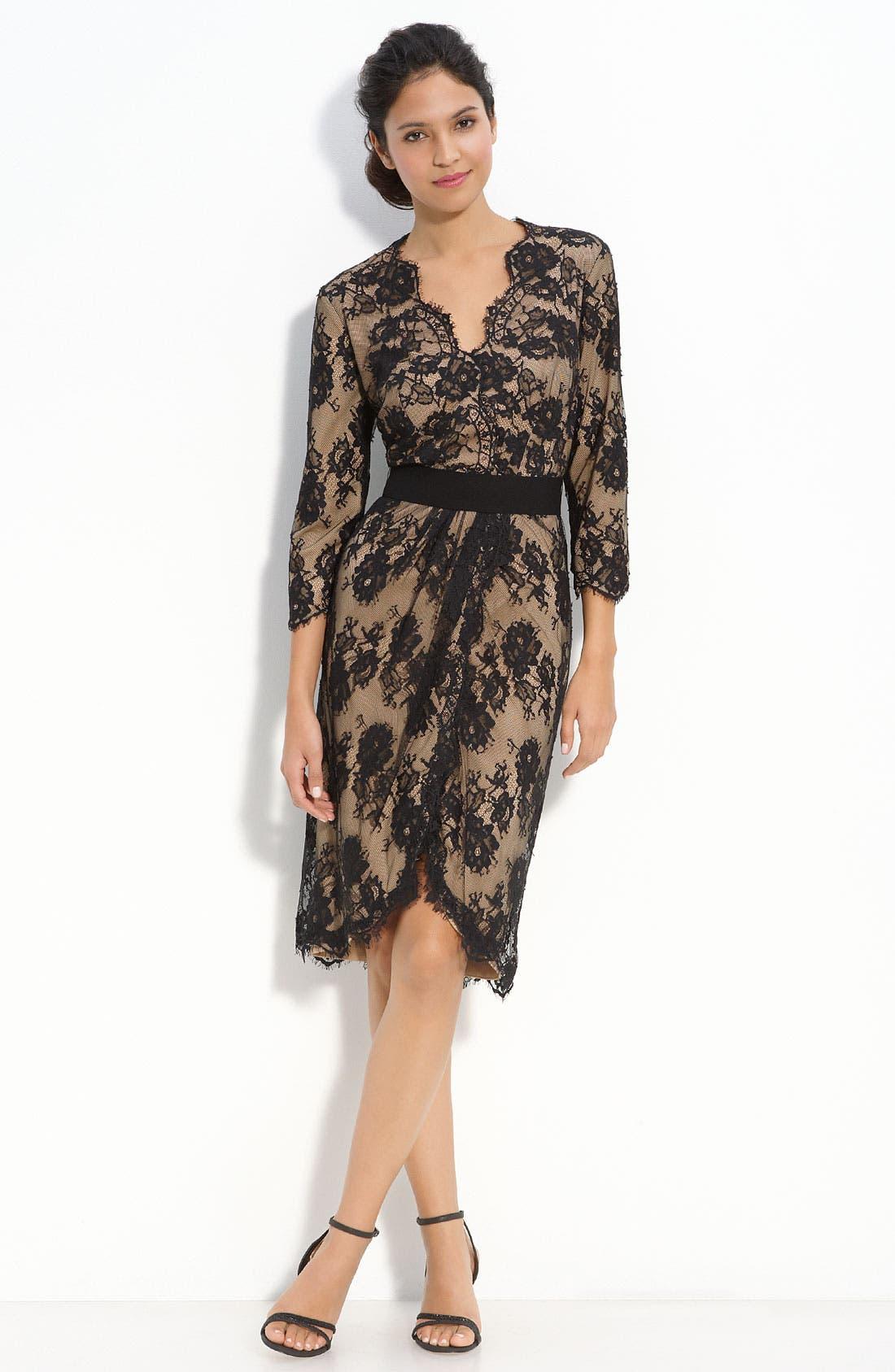 Alternate Image 1 Selected - Tadashi Shoji Faux Wrap Lace Dress
