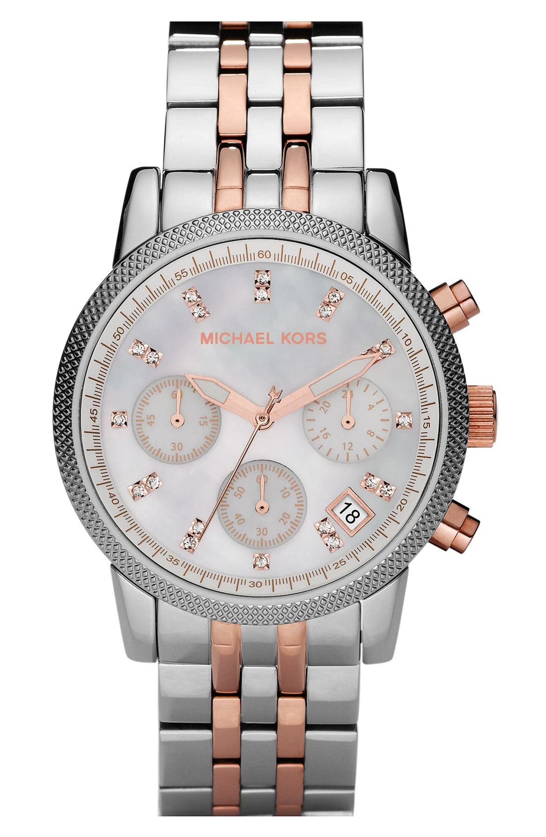 Alternate Image 1 Selected - Michael Kors Two Tone Chronograph Bracelet Watch