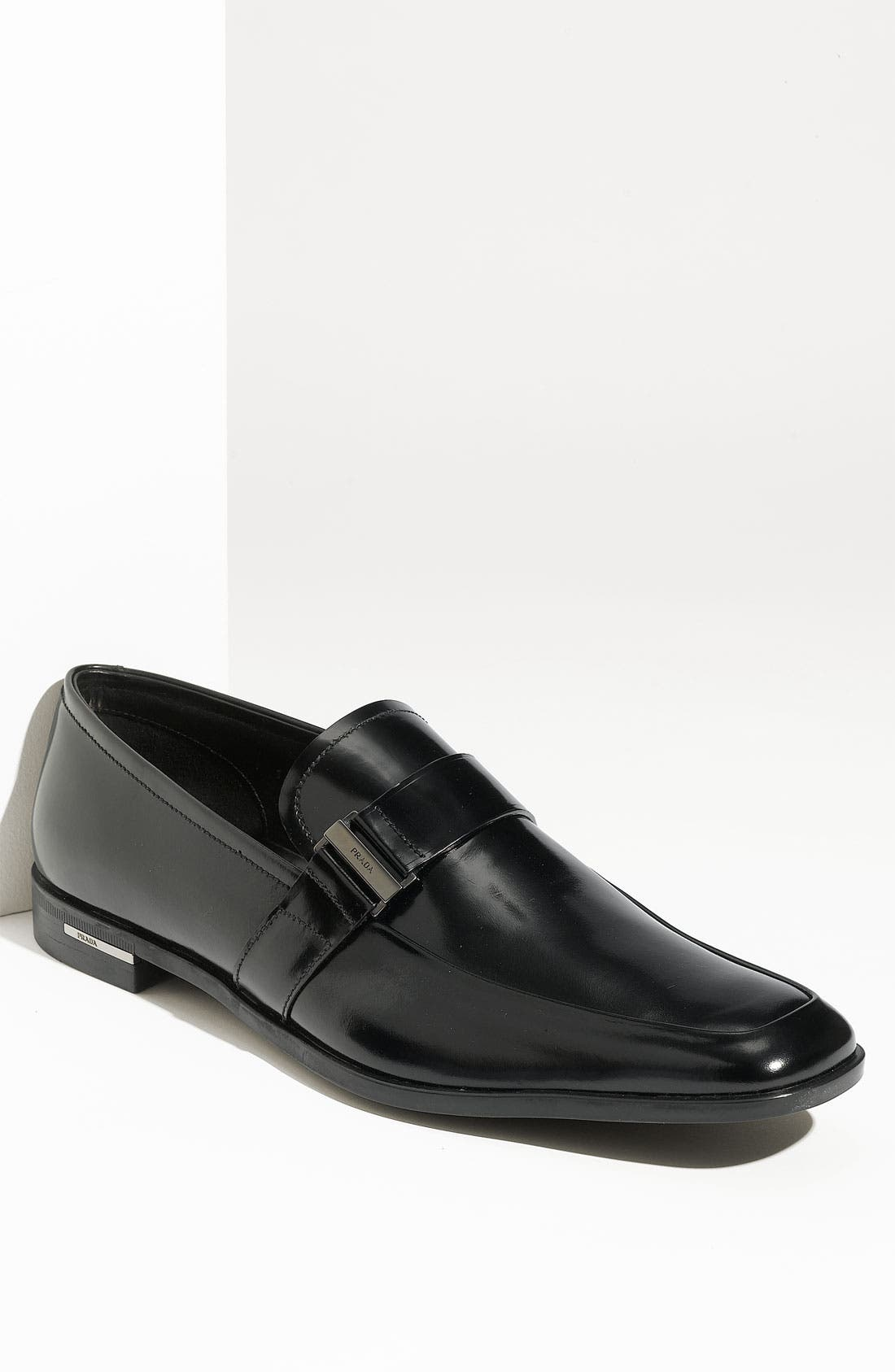 Alternate Image 1 Selected - Prada Buckled Leather Slip On (Men)